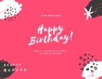 כרטיס ברכה Happy Birthday ורוד